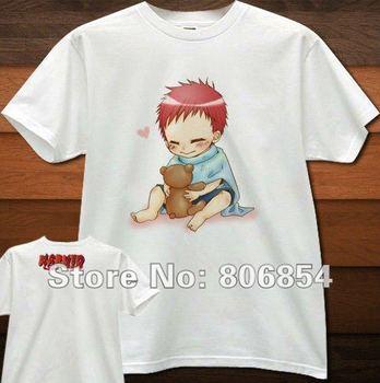 Naruto Gaara cotton t shirt short sleeve t-shirts with three packet mail| Free Shipping