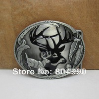 Fashion deer belt buckle with pewter finish FP-02172 brand new condition with continous stock