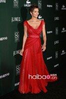 Знаменитости платья вечернее платье звезды красный ковер платья custome Волнистый край складки-Line без рукавов