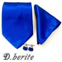New royal blue neck tie set hanky cufflinks silk solid necktie groom wedding handmade ST05