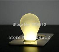 Free Shipping  LED card light, Nightlight, Thin card wallets Lights, Bulb shape Pocket Light, 4color 20g 10pcs/lot