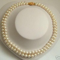 2Rows white freshwater pearl necklace 7-8mm