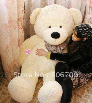 "5.25FEET TEDDY BEAR BEIGE STUFFED CUDDLY SOFT LARGE 63"" PLUSH TOY FANTASTIC GIFT ! FAST & FREE SHIPPING(China (Mainland))"