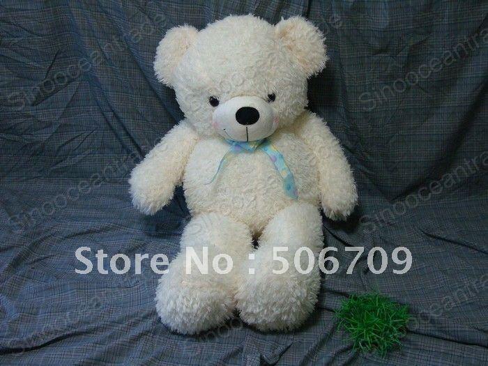 "TEDDY BEAR WHITE BIG HUGE GIANT PLUSH STUFFED TOY 43"" PLUSH TOY FANTASTIC GIFT ! FAST & FREE SHIPPING(China (Mainland))"