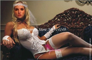 Free shipping,Wholesale,Sexy Lingerie White Bridal Honeymoon Corset,Veil+Hammock+Gloves,Bridal Lingerie & Undergarments