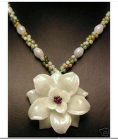 Genuine white Jade carved flower Pendant Necklace