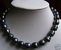 Noble 9-10MM black pearl necklace 18 inch