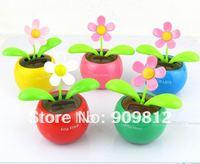 Free Shipping Solar apple flower, Flip flap solar flower, Swing sunflowers, Solar Toy, Car accessories, 5 color 65g  50pcs/lot
