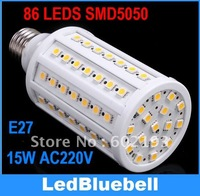 1550LM AC220V 15W E27 86 SMD 5050 LED Corn Light LED Bulb Lamp Lighting Free shipping [ LedBluebell ]