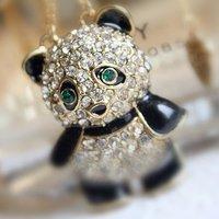 32# New Women's Fashion Rhinestone panda pendant Sweater chain Necklace HOT!!