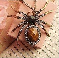 41# Fashion Granny Chic Rhinestone Spider Amber Necklace New