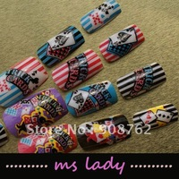 24pcs/set false nails fashion art 2012 free shipping russia HK airmail