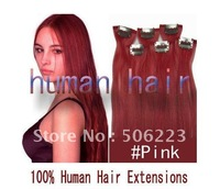 DIY Clip on hair extensions 100% human remy clip in hair extension # pink 100g/set 1000g/lot