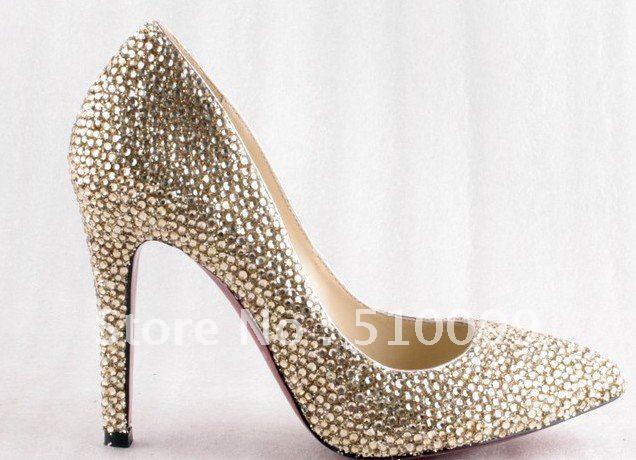 Gold rhinestone ladies shoes crystal shoes womanWedding high heels