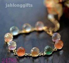 Wholesale Ladies Charm Crystal Bracelet Bangle w/ Alloy Chain 30pcs Mixed Lot Free Shipping(China (Mainland))