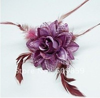 20pcs And gold rose, hair rope cloth art, feather broach, brooch flowers(20 pcs/lots)mfgdfdd