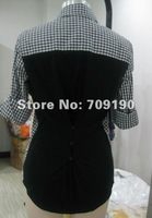 New Arrival  ~ Top selling  Woven plaid contrast fabric shirt , Brand style samples only , Top high quality