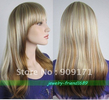 free Shipping*NEW LONG BLONDE MIXED STRAIGHT COSPLAY WOMEN'S WIG