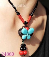 NEW ARRIVAL! Handicrafted Turquoise Butterfly Charm Pendant Necklace Jewelry Valentines Gifts  20pcs Mixed Lot  Free Shipping