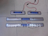 free shipping Skoda Octavia 2007-2011 Stainless Steel Scuff Plate / Door Sill / threshold with blue LED light UPS EMS DHL CPAM