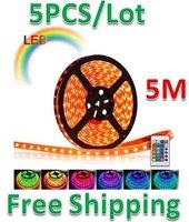 Free Shipping 5pcs/lot 5M  5050 SMD 30LED/M RGB LED Strip light WATERPROOF 12V
