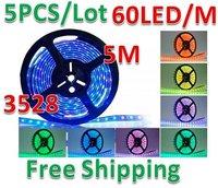 5pcs/lot Free Shipping 5M Strip Light 3528 SMD RGB 300LED