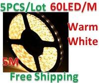 5pcs/lot  5M 500cm 300LED 3528 SMD Waterproof Warm White Flexible Strip Light Lamp DC 12V