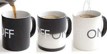 Free Shipping Novelty New Arrival Ceramics Magic ON OFF change Cup Fuel Tank Mug Christmas Gift