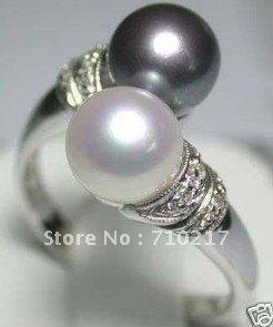 Кольцо Jewelry BLACK WHITE pearl ring