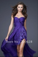 2012 new style sweetheart chiffion fashion front short and back long long sex evening prom cocktail   dress