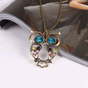 Fashion Vintage Hollow Cute Owl Necklace Sweater Chain X4249