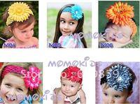 Free shipping 30 pcs Crochet headbands+ 30pcs Gerbera Daisy Flowers / baby hairwbows headband bcvd