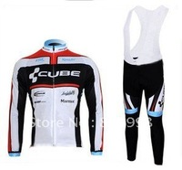 1PCS  High Quality Best Selling 2011 Cube Autumn Cycling Jersey+Bib Pant Set/Bicycle Wear/Biking Jersey/Cycle Pant