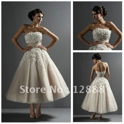 Free Shipping Best Selling 2011 Ankle Length wedding dresses Bridal Gown(China (Mainland))