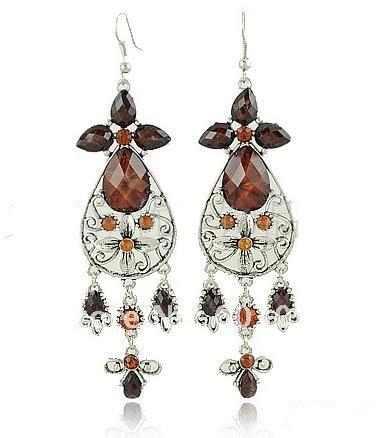 Hot! 12 Pairs/Lot Fashion Vintage Original Brand Gemstone Earrings, Retro Drop Earrings for Girl ...