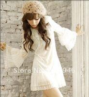 Hote sale speakers ruled lotus lace sleeve dress KMYBF7136,Chiffon Dress, Evening dress,free shipping, KMYBF099