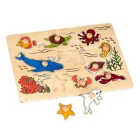 Free shipping Wooden marine organism Jigsaw Puzzle Kids Learning Kit #2018