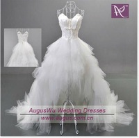 AWB0244 2012 Latest Sexy Sweetheart Short Front Long Back White Organza Wedding Dresses