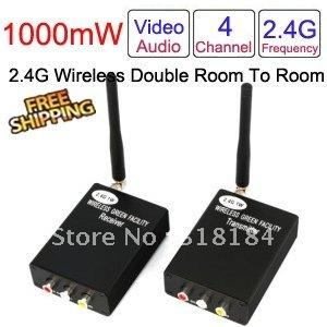 wireless transmitter and receiver wireless AV sender 2.4G 4CH 1000mW wireless device