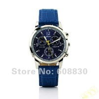 Free Shipping  Hot Sell New Fashion Unisex Leather Wrist Watch Blue