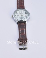 Free Ship Lady Brown Strap Leather Strap Quartz Wristwatch U5Z