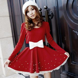 2012   new spring hubble-bubble sleeve with the temperament waist belt pearl a great red dress