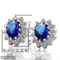 Latest!18K Gold Blue CZ Earring Jackets,CZ jewelry,Free shipping