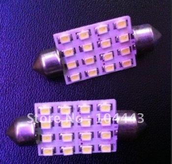 Free Shipping Led Interior Dome Festoon Reading Light 16 SMD LED Bulb Light  16SMD 36mm 39mm 41mm White 12V