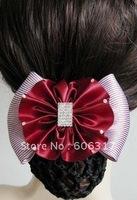 24 pcs /lot Free shipping high quality  worker bowknot barrette/nurse clip/Snood Net /Stewardess hair clip