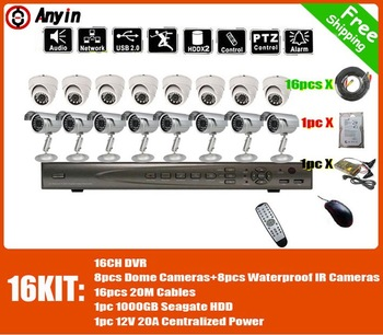 "Free shipping  camera kit  +  16ch dvr kits +1U MINI 16CH H.264 DVR +   Sony 420TVL  Cameras + 3""  Seagate 1TB Harddisk"