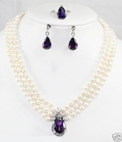 wholesale --------true 3row 6-7MM pearl amethyst pendant earring set ring necklace