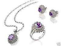 Cute Amethyst necklace pendant earrings ring set