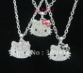 Hello kitty pink & red & black bow crystal 3 necklace mixed color kid best gift+free shipping