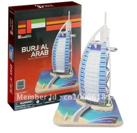 Free shipping,Burj Al Arab hotel DIY 3D three-dimensional puzzle, 3d puzzle,world's great architecture, wholesale price
